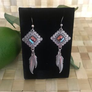 Auth Native American Inlaid Zuni Feather Earrings